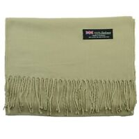 Men's 100% CASHMERE Warm PLAIN Scarf pure solid Khaki Wool MADE IN SCOTLAND