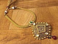 New Indian Pakistani Ethnic Gold Plated Kundan Ruby Green Thewa Necklace Pendant
