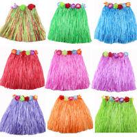 Hawaiian Hula Grass Skirt fancy dress  Adult Costume with long flower fashion