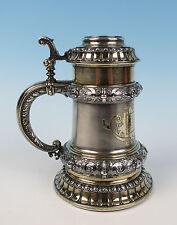Antique c.1886 German Solid Silver Fire Dept Stein Koch & Bergfeld Tankard Gold