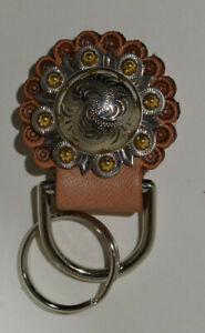 "Concho Key Fob - 1 1/2"" Gold Berry Concho with Key Ring (J7)"