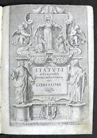 Settecentina - Storia Roma- Statuti Archiconfraternita del Confalone - 1735
