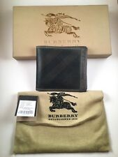 GREAT $360!! Burberry wallet bifold Smoked check Chocolate black 100% Authentic!