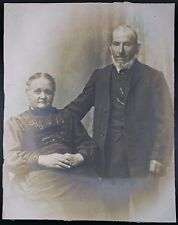 """Large Unframed Photo of Older Victorian Couple,  Approx 12 x 15 1/4""""."""