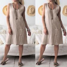 Women O-Neck Sleeveless Sexy Cotton Loose Casual Pocket Bohemian Mini Dresses