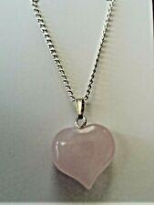 Pink Rose Quartz Gemstone Heart Love Crystal Necklace Pendant Gift