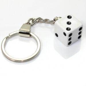 3D White Dice Key Chain Ring Fob - for house, home, car, truck, bike keys