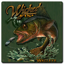 """""""Walleye"""" Wicked Fish Metal Sign - Hand Made in the USA with American Steel"""