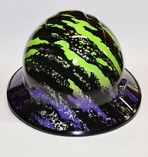 Made in the USA ERB  Wide Brim Hard Hat Hydro Dipped in Purple & Lime Splash
