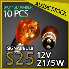 Signal Indicator Wedge Light Bulbs S25 12V 21/5W AMBER Globes BAY15D 10PC YELLOW