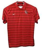 NIKE Mens Size XL Dri-Fit Polo Shirt Red Striped Embroidered CC Logo & Swoosh