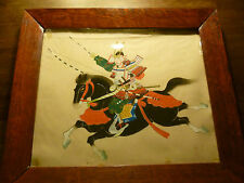 Vintage Samurai Warrior on Horseback - Painted on Fabric - Stamped - Framed