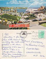 1982 DUAL VIEWS OF St ANNES ON SEA LANCASHIRE COLOUR POSTCARD