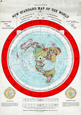 1892 Flat Earth Map Alexander Gleason New Standard Map the World Repro Poster