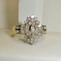 2 Carat Diamond 14K Yellow Gold Over Marquise Cluster Engagement Wedding Ring