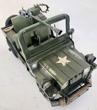 US ARMY MILITARY JEEP TIN PLATE WITH GUN LARGE MODEL PRESSED METAL  1:12