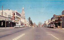 Chrome Postcard Red Bluff Street Scene Tehema County CA Fremont Hotel