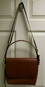 """Fossil Women's Vintage Brown Leather Saddle Bag/Crossbody/Purse. 9"""" x 12"""""""
