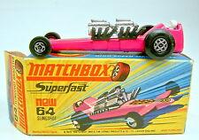 Matchbox Superfast Nr. 64B Slingshot Dragster hot pink top in Box