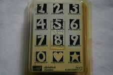 Lot of boxed wooden rubber stamps numbers shapes counting scrapbooking
