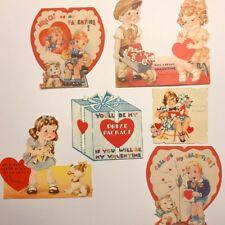 Lot Of 6 Vintage Valentines Cards Die Cut 1930s Era Dogs Kids Telephone Doll