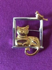 Cat and Bird Gilt and Silver-plated Costume Brooch - Cute and quirky design!