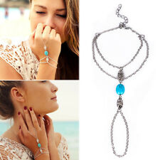 Chain Bracelet Drop Punk Women Metal Hand Harness Chain Beads Finger Ring Boho