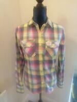 SUPERDRY ladies Yellow Blue Check Lumberjack Shirt Brushed Cotton Size S 8 10