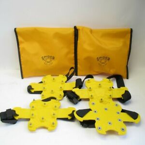 Spider Grivel Mini Crampons Yellow 2x Sets Anti Slippery Snow Ice Grip w/ Bags