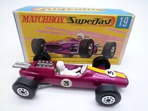 VINTAGE MATCHBOX SUPERFAST No.19d LOTUS RACING CAR IN ORIGINAL BOX 1970