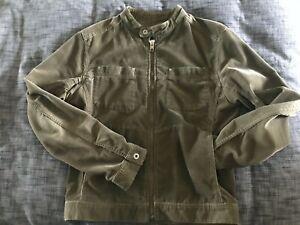 DIESEL Men's Vintage Corduroy Racer Jacket in Olive - Size L