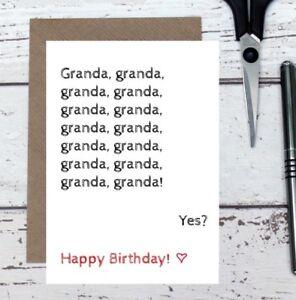 Granda card - funny birthday card for granda - granda birthday card - joke card