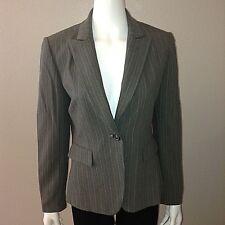 Tahari Blazer Size 6 Womens Dress Jacket Button Up Gray Pin Stripe Shoulder Pads