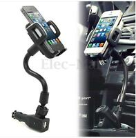 Dual 2 USB Ports Car Cigarette Lighter Charger Mount Holder For Cell Phone GPS !