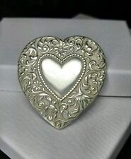 "Vintage Sterling Silver - CORO Floral Scroll Heart - Brooch / Pin 2"" x 1.85"""