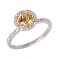 Solid 14K Yellow Gold 6.5mm Round Cut Citrine Natural Diamonds Engagement Ring