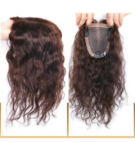 Handmade 100% Real Remy Human Hair Wavy Curly Hairpiece Clip In Topper Toupee