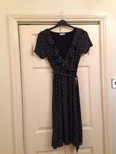 Wallis Black And White Spotted Dress Size 14 Excellent Condition