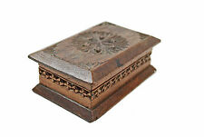 Antique 1900 Frisian Hand Chip Carved Walnut Stamp Box. Dutch.