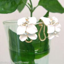 White Enamel Leaves 18K GP Crystal Buckle Earrings 1147