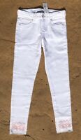 Gymboree Girls White Denim Jeans pants Adj waste Pink Accents (9) Super Skinny