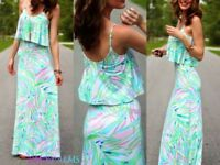 NWT LILLY PULITZER XS,S,M HARRINGTON MAXI DRESS SKYE BLUE SALUTE