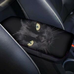 Black Universal Car Armrests Cover Console Armrest Box Cushion Pad Cat Pattern