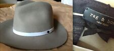 RAG & BONE Floppy Brim Fedora Hat WOOL TAN White Leather NWT NEW SMALL SOLD OUT!