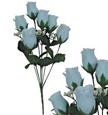 Lot of 144 Light Blue Closed Roses Wedding Home Decor Craft Bouquet Silk Flower