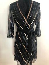 Bcbg Devon Sequin Faux-Wrap Dress Size XS Black