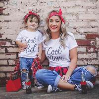 Mom&Baby Family Clothes Womens Ladies Baby Boys Girls Short Sleeve Basic T-shirt