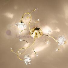 Plafoniera soffitto lampadario design moderno acciaio cromo oro fiori cristallo