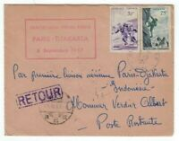 1957 Aude France, Airmail FFC Paris to Djakarta Indonesia Returned Sports Stamps