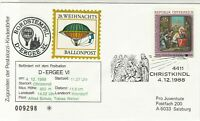 Austria 1988 Balloon Post Christmas Angel & Christ Slogan Stamps Cover Ref 28004